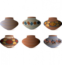 clay pottery collection vector image vector image