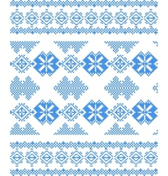 Embroidered handmade cross-stitch ethnic pattern vector