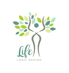 healthy life logo with abstract human silhouette vector image