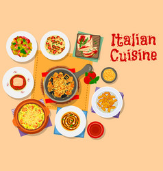 italian cuisine icon with pasta soup and cake vector image vector image