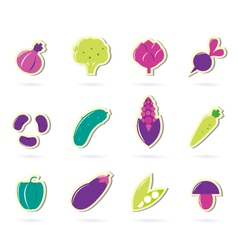 retro vegetable icons vector image