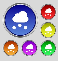 snowing icon sign Round symbol on bright colourful vector image