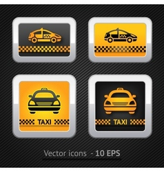 taxi cab set buttons on background pixel vector image