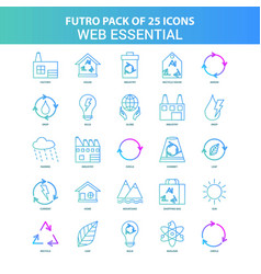 25 green and blue futuro web essential icon pack vector