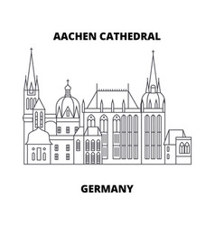 aachen cathedral germany line icon concept vector image