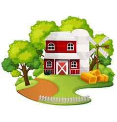 An isolated farm house vector