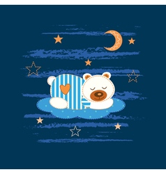 Babackground with sleeping bear vector