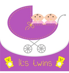 Baby carriage Its twins girls Shower card Flat des vector image