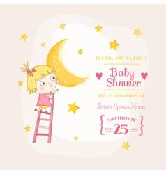 Baby girl climbing on a moon - shower card vector