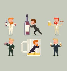 Beer rum whiskey alcohol male guy character vector