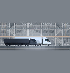 big truck trailers in industrial warehouse vector image