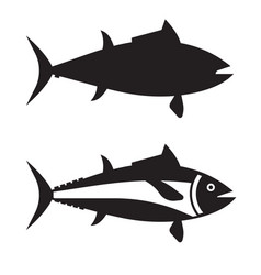 Big tuna fish outline icon or logotype vector