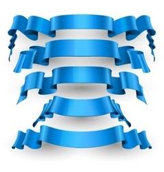 Blue Glossy ribbons set vector