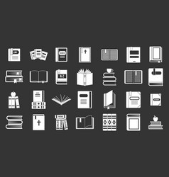 books icon set grey vector image