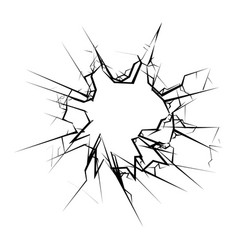 broken glass hole cracks isolated vector image