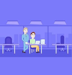 business man explain male cleck sitting at office vector image