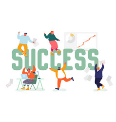business success concept joyful people dance and vector image