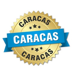 Caracas round golden badge with blue ribbon vector