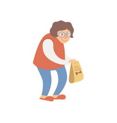 Careful woman carrying dog food package cartoon vector