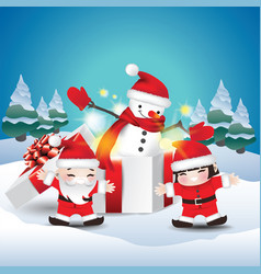 Children happy with snowman in gift box vector