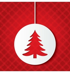 Christmas ball with christmas tree Cut the paper vector image