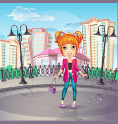 city promenade with a teen girl in a pink jacket vector image