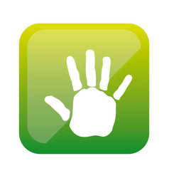 Color square with handprint icon vector