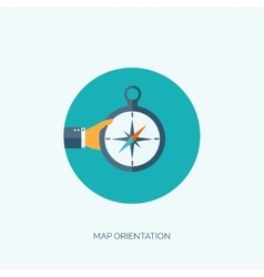 Compass icon with hand Travel concept Navigation vector