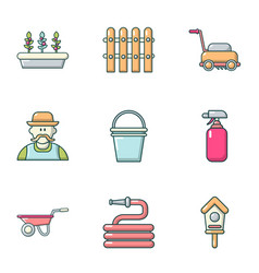 Construction of the home icons set cartoon style vector