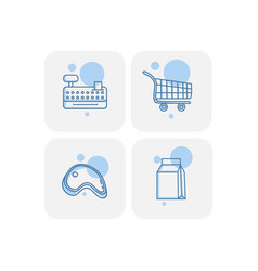 creative blue supermarket icons design vector image