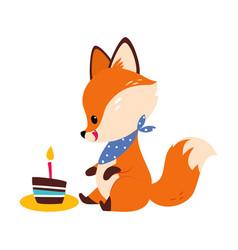 Cute little fox licking sitting near birthday cake vector