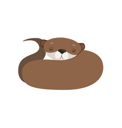 Cute otter sleeping lovely animal character vector