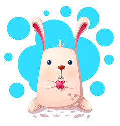 Cute rabbit with love heart vector