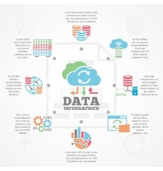 Data Analytics Infographic Flat Icons Banner vector image