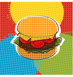 delicious juicy burger with ingredients a set of vector image