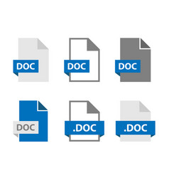 Doc files document icon set file format sign vector