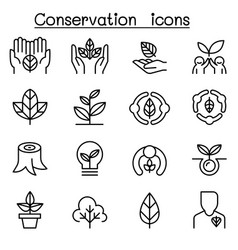 Eco friendly conservation icon set in thin line vector