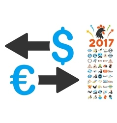 Euro Dollar Transactions Icon With 2017 Year Bonus vector
