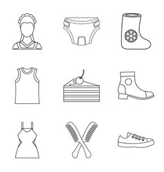 Fair site icons set outline style vector