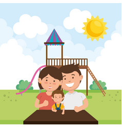 Family members on park characters vector