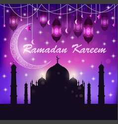 festive greeting card for ramadan with temple vector image