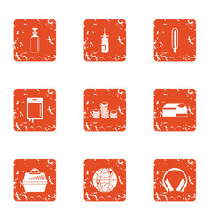Finance sector icons set grunge style vector