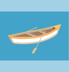 Fishing boat with oars marine traveling vessel vector