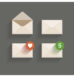 Flat email icons vector image