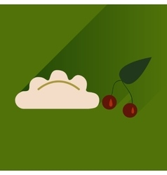 Flat with shadow Icon dumplings cherries on bright vector