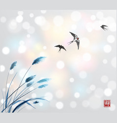 Flying swallow birds and blue grass traditional vector