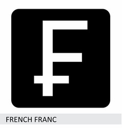 french franc currency symbol vector image