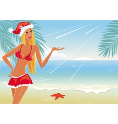 girl on the beach in santa hat vector image