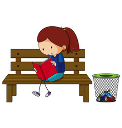Girl reading book on the bench vector