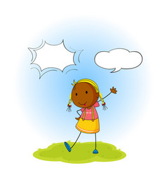 girl with speech balloon vector image
